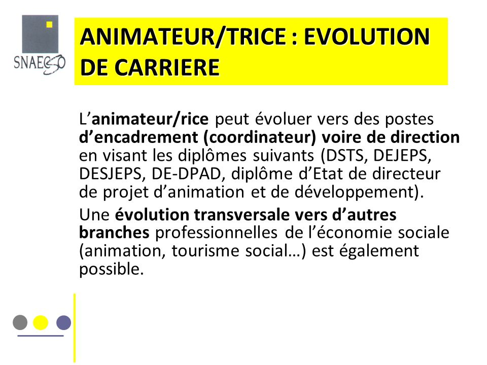 ANIMATEUR/TRICE : EVOLUTION DE CARRIERE