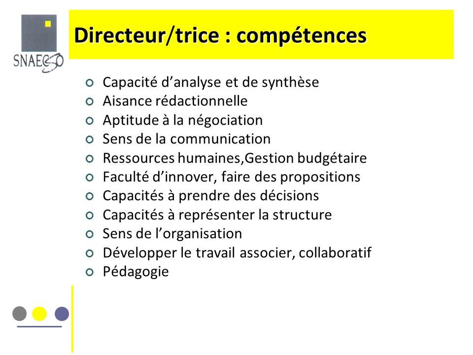Directeur/trice : compétences