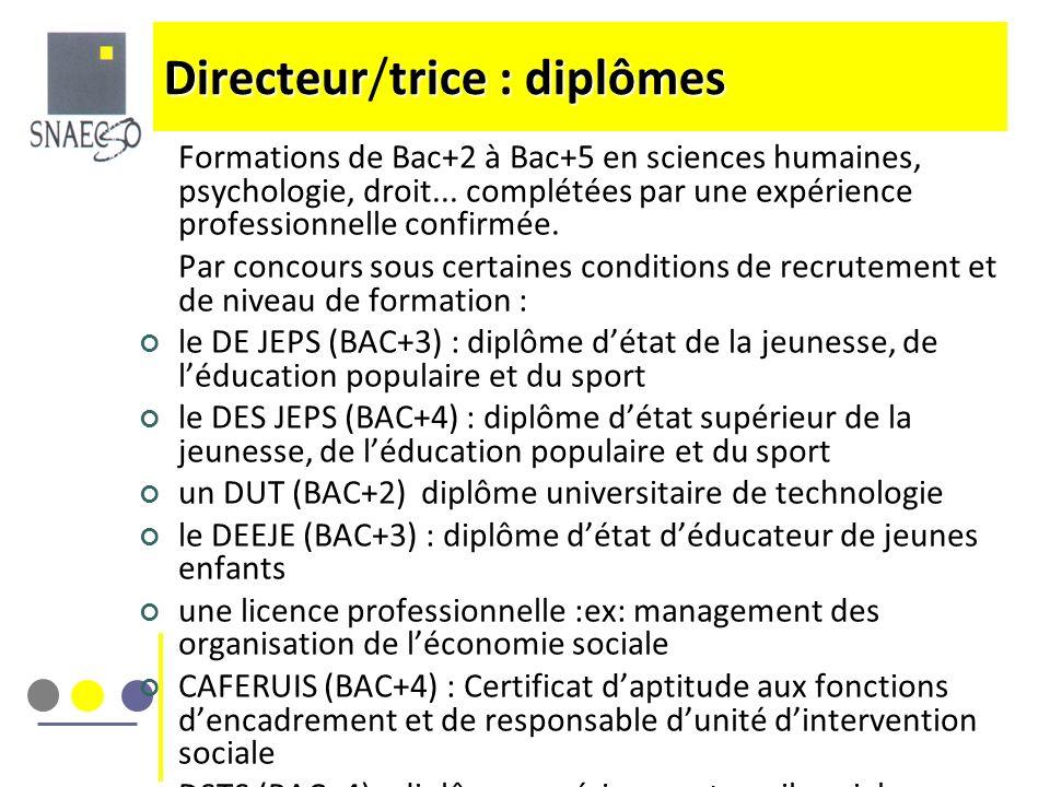 Directeur/trice : diplômes
