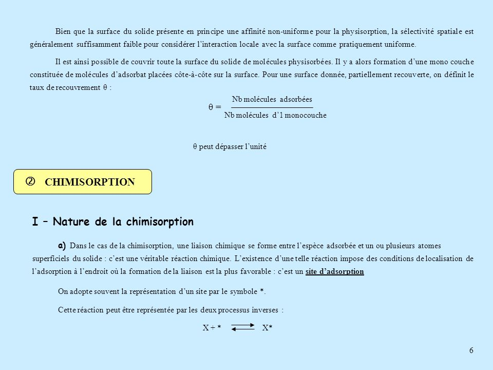  CHIMISORPTION I – Nature de la chimisorption