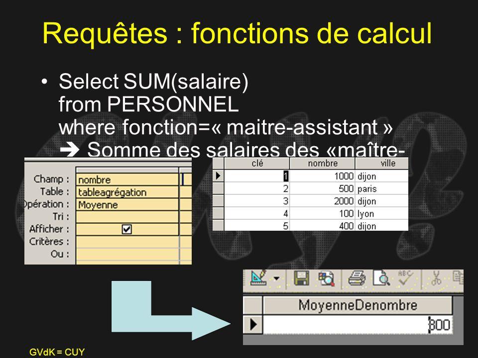 Requêtes : fonctions de calcul