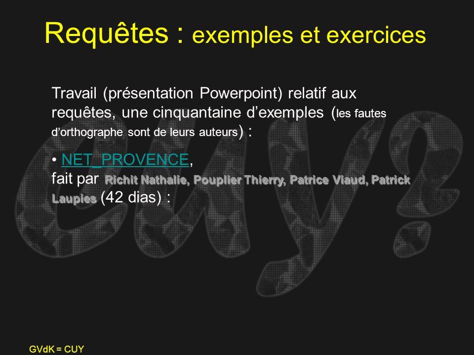 Requêtes : exemples et exercices
