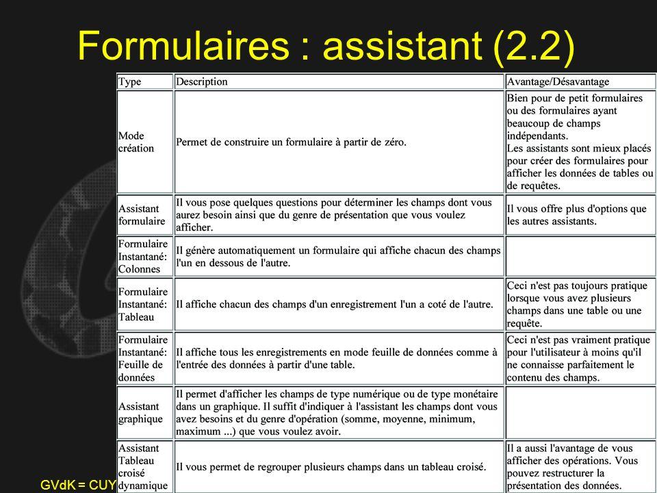 Formulaires : assistant (2.2)