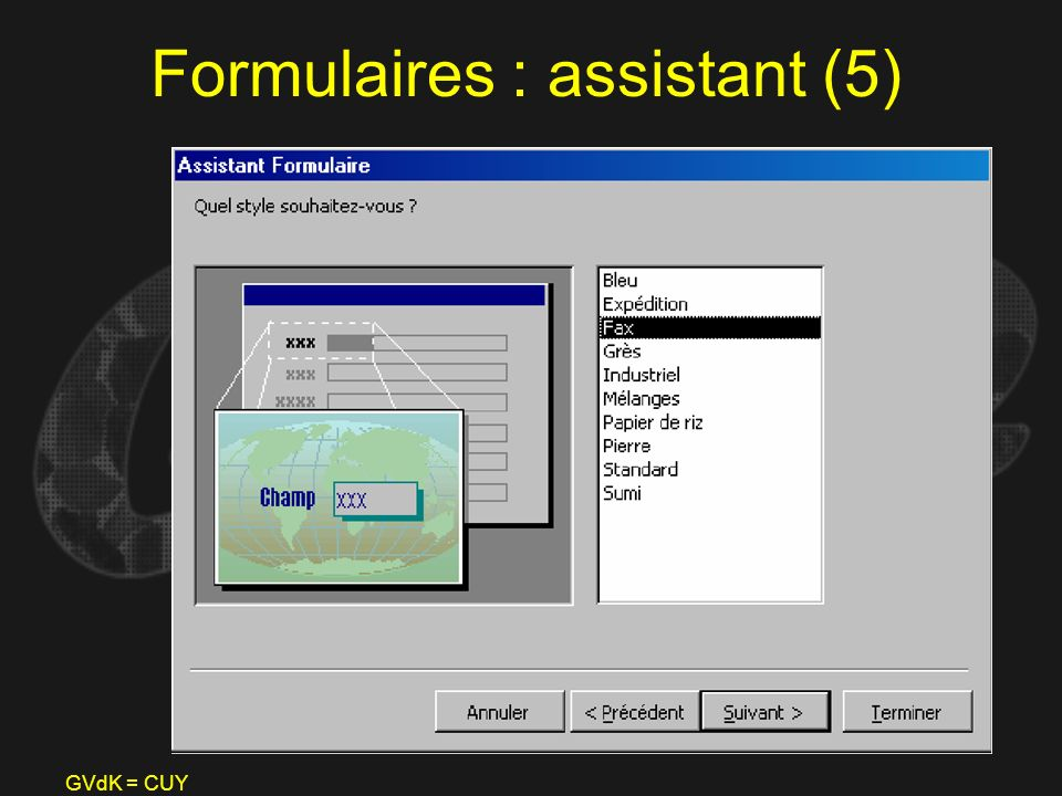 Formulaires : assistant (5)