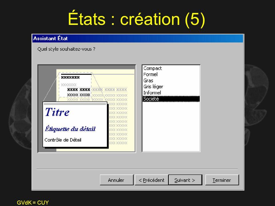 États : création (5) GVdK = CUY
