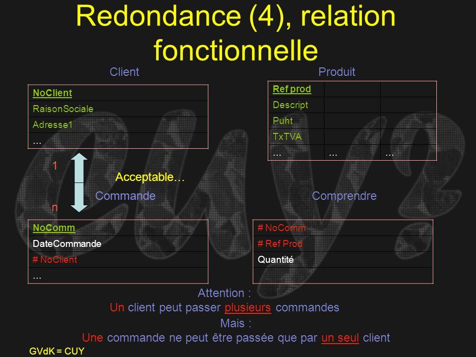 Redondance (4), relation fonctionnelle