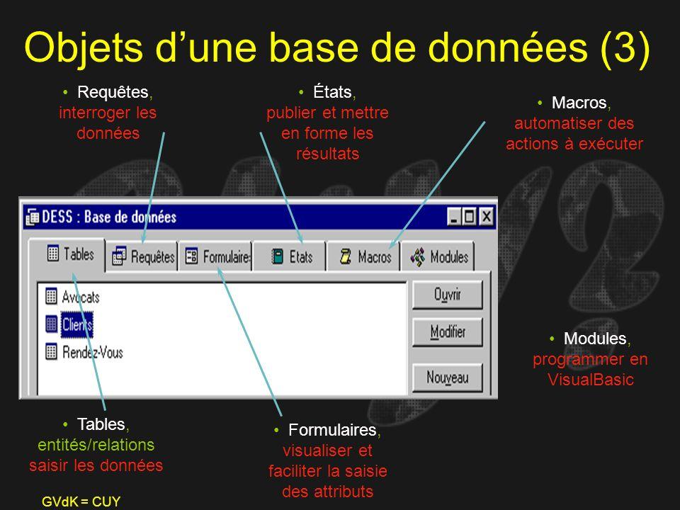 Objets d'une base de données (3)