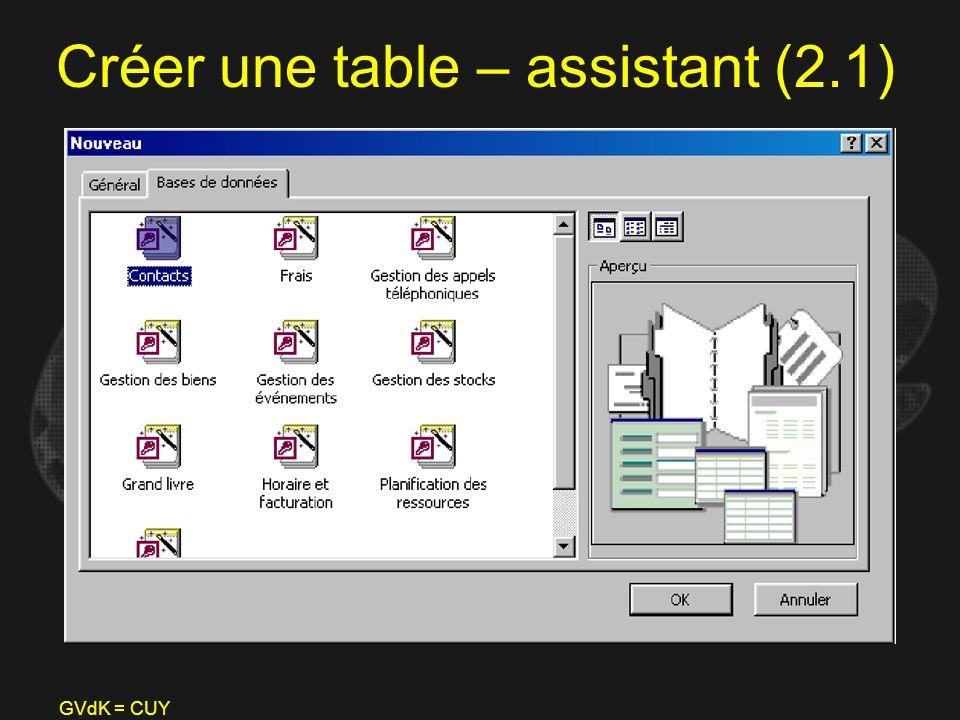Créer une table – assistant (2.1)
