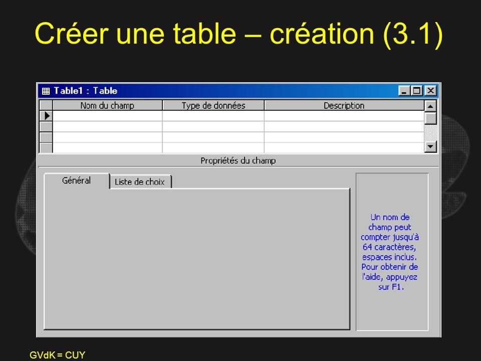 Créer une table – création (3.1)