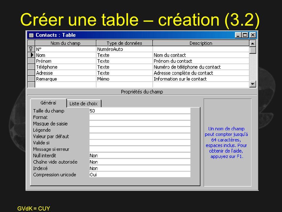 Créer une table – création (3.2)