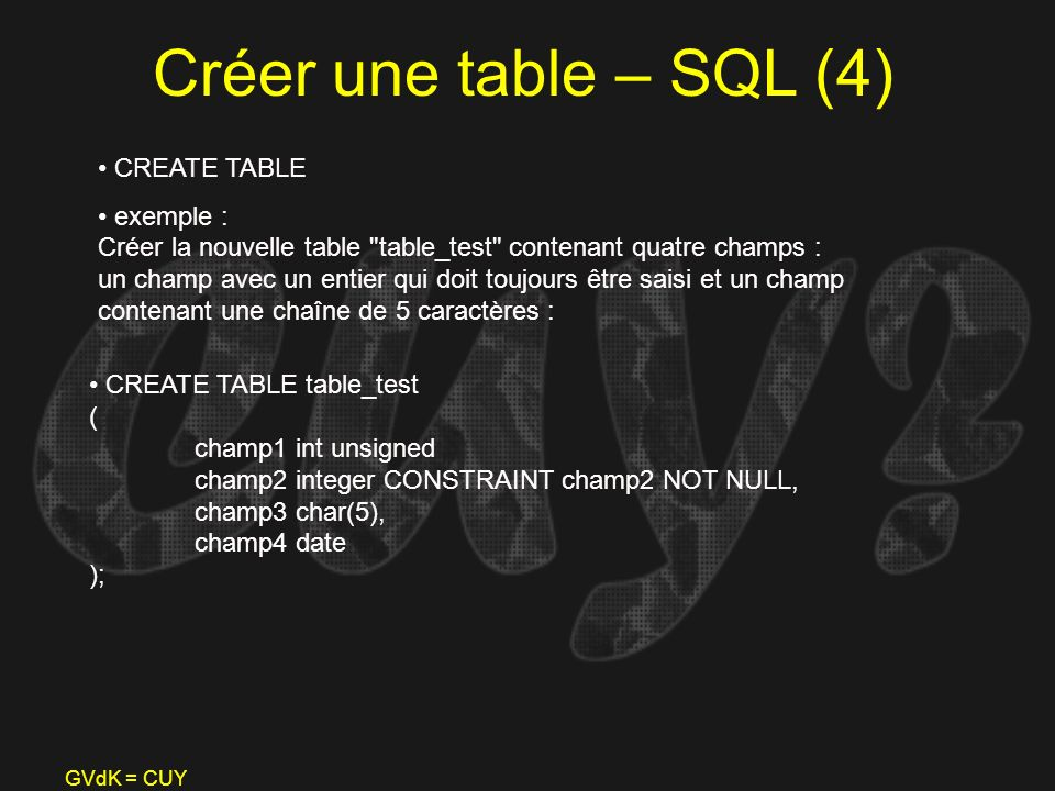Créer une table – SQL (4) CREATE TABLE
