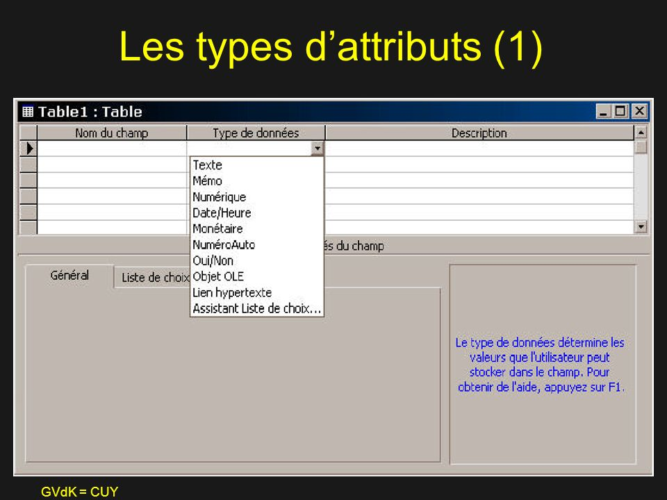 Les types d'attributs (1)