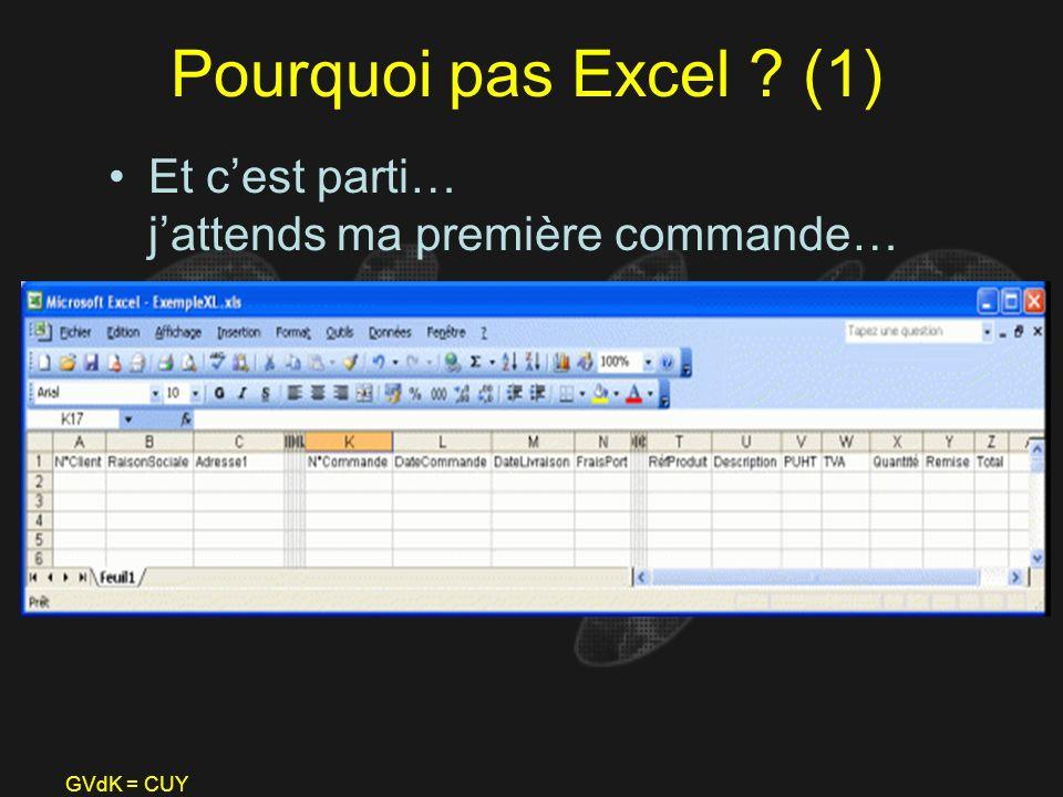 Pourquoi pas Excel (1) Et c'est parti… j'attends ma première commande… GVdK = CUY