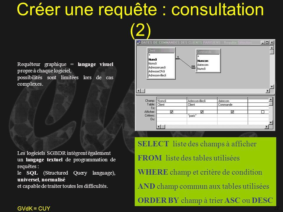 Créer une requête : consultation (2)