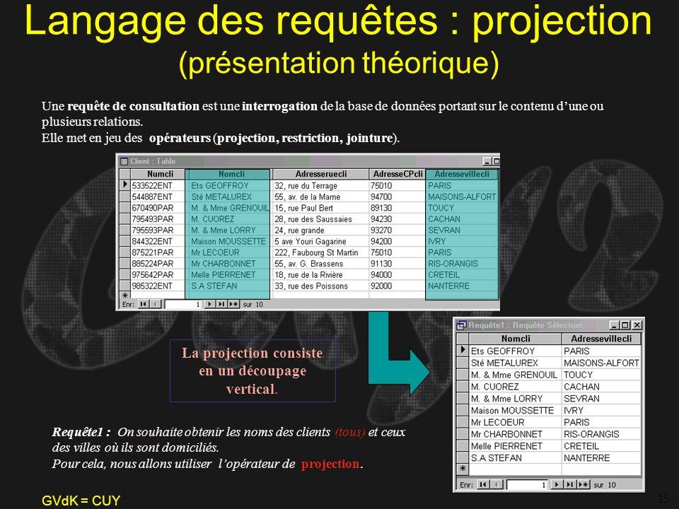Langage des requêtes : projection (présentation théorique)
