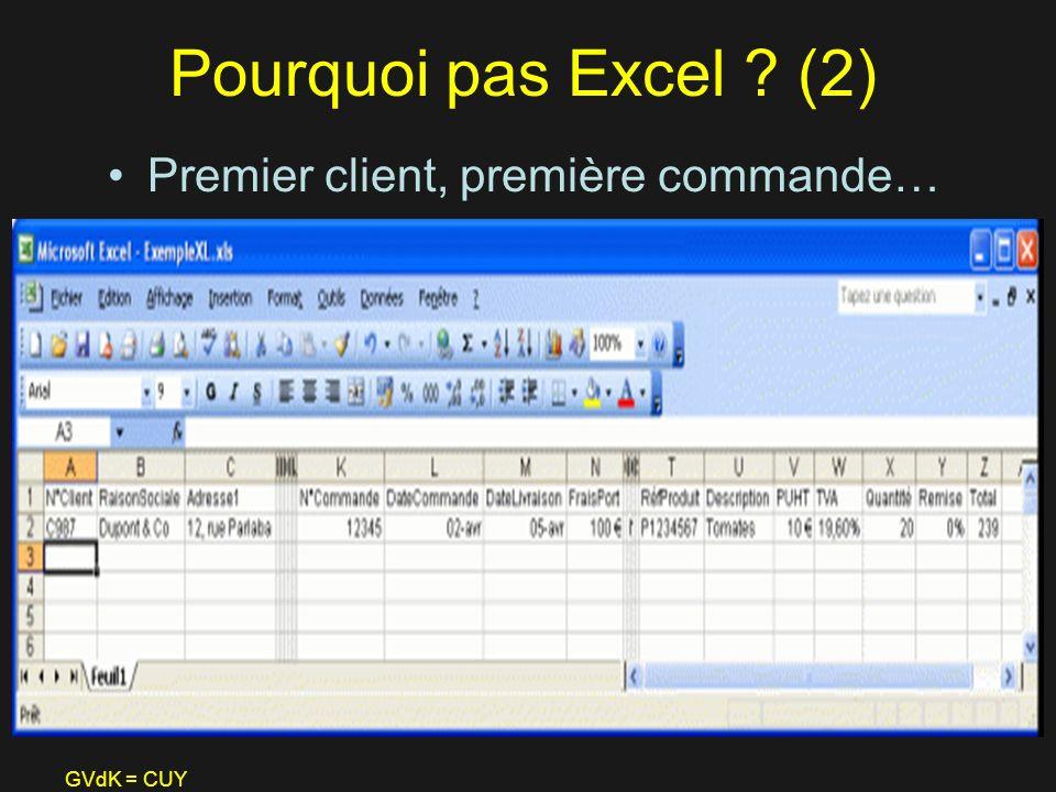 Pourquoi pas Excel (2) Premier client, première commande… GVdK = CUY