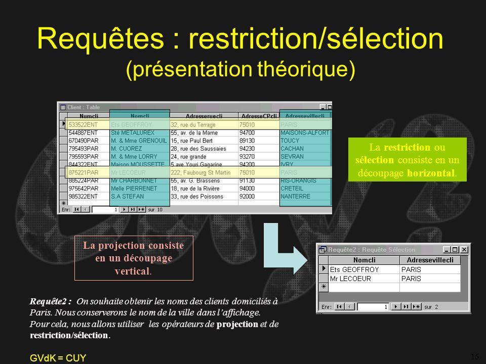 Requêtes : restriction/sélection (présentation théorique)