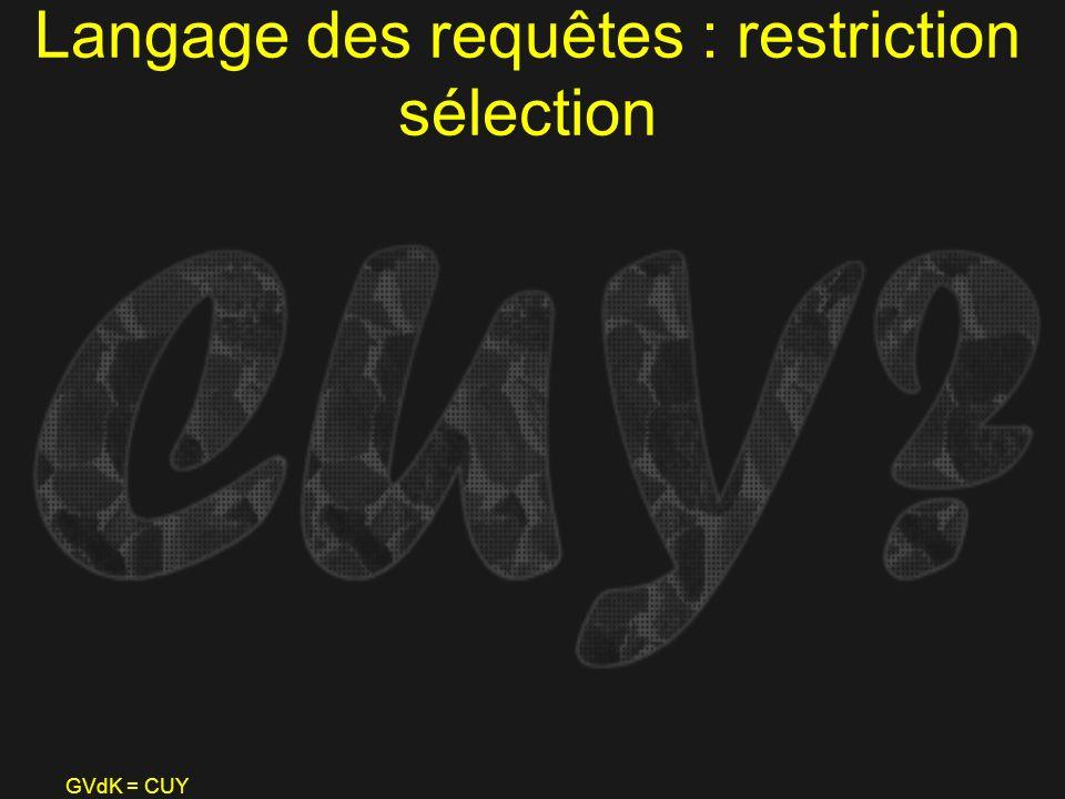 Langage des requêtes : restriction sélection