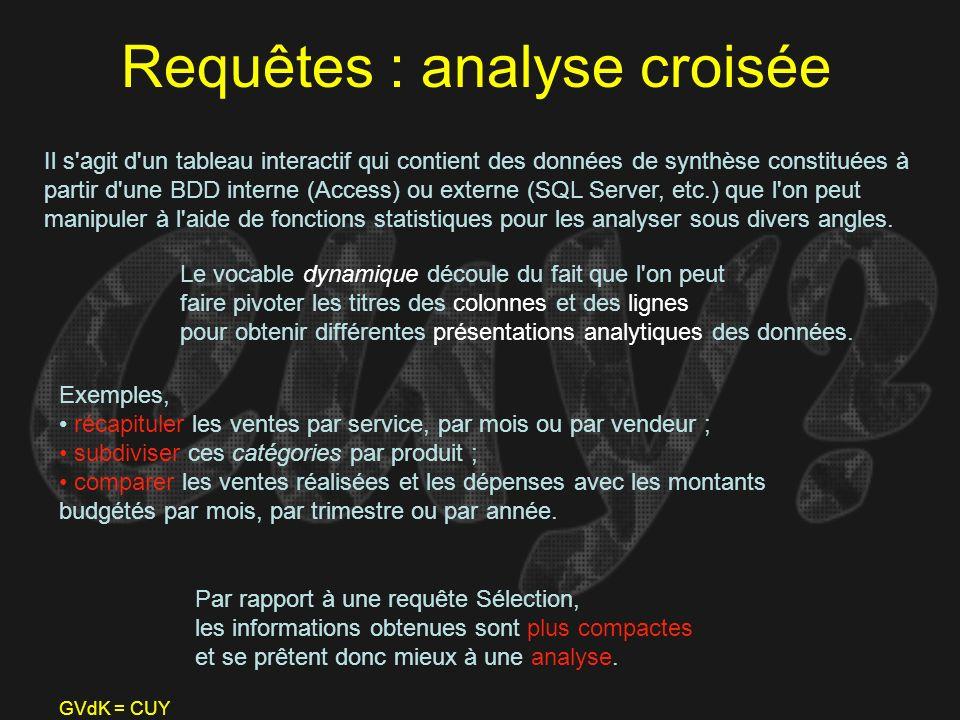 Requêtes : analyse croisée
