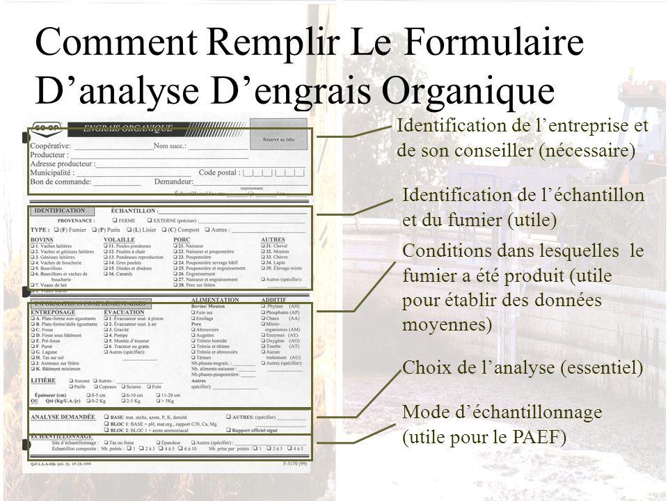 Comment Remplir Le Formulaire D'analyse D'engrais Organique