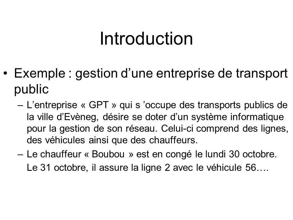 Introduction Exemple : gestion d'une entreprise de transport public