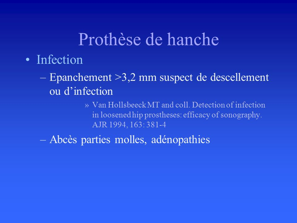 Prothèse de hanche Infection
