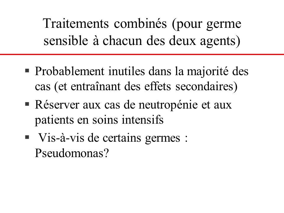 Traitements combinés (pour germe sensible à chacun des deux agents)