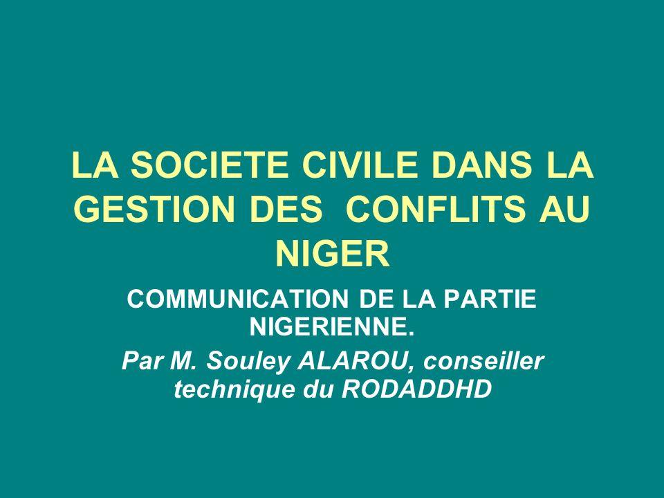 LA SOCIETE CIVILE DANS LA GESTION DES CONFLITS AU NIGER