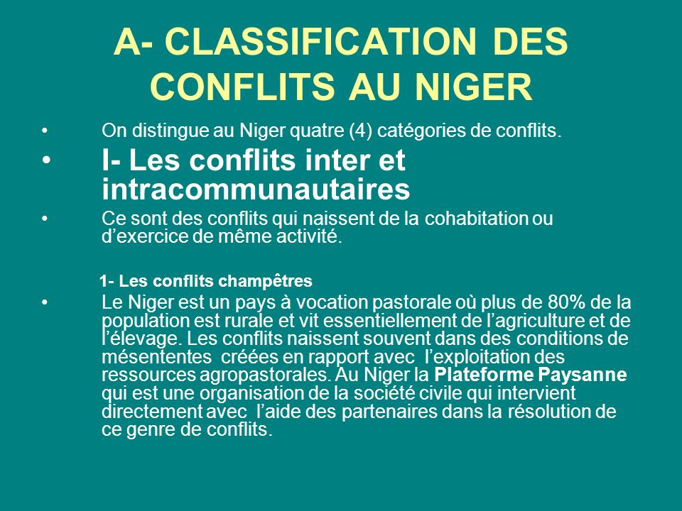 A- CLASSIFICATION DES CONFLITS AU NIGER