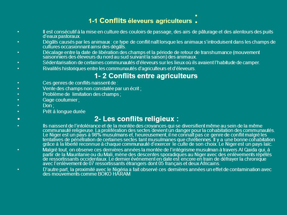 1-1 Conflits éleveurs agriculteurs :