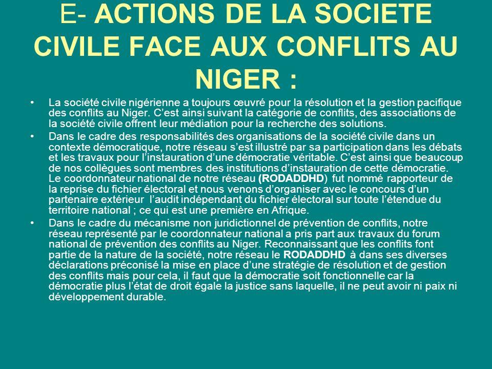 E- ACTIONS DE LA SOCIETE CIVILE FACE AUX CONFLITS AU NIGER :