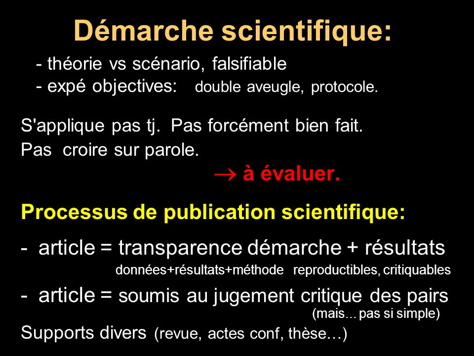 Démarche scientifique: