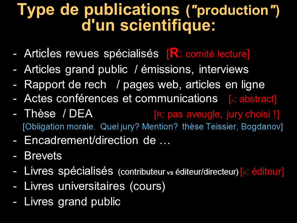 Type de publications ( production ) d un scientifique: