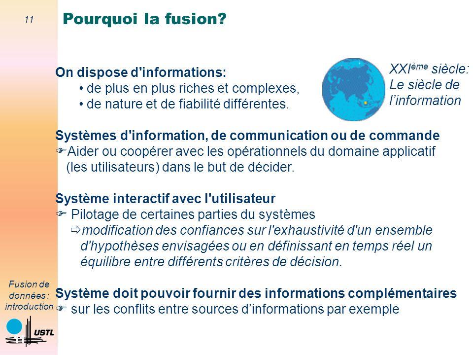 Pourquoi la fusion XXIème siècle: On dispose d informations: