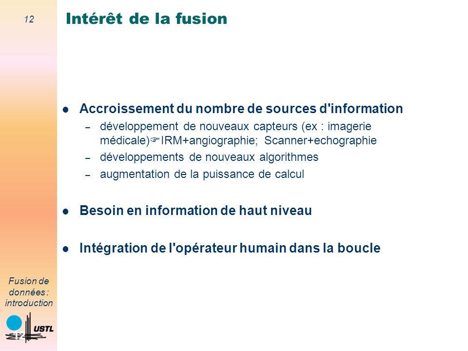 Intérêt de la fusion Accroissement du nombre de sources d information