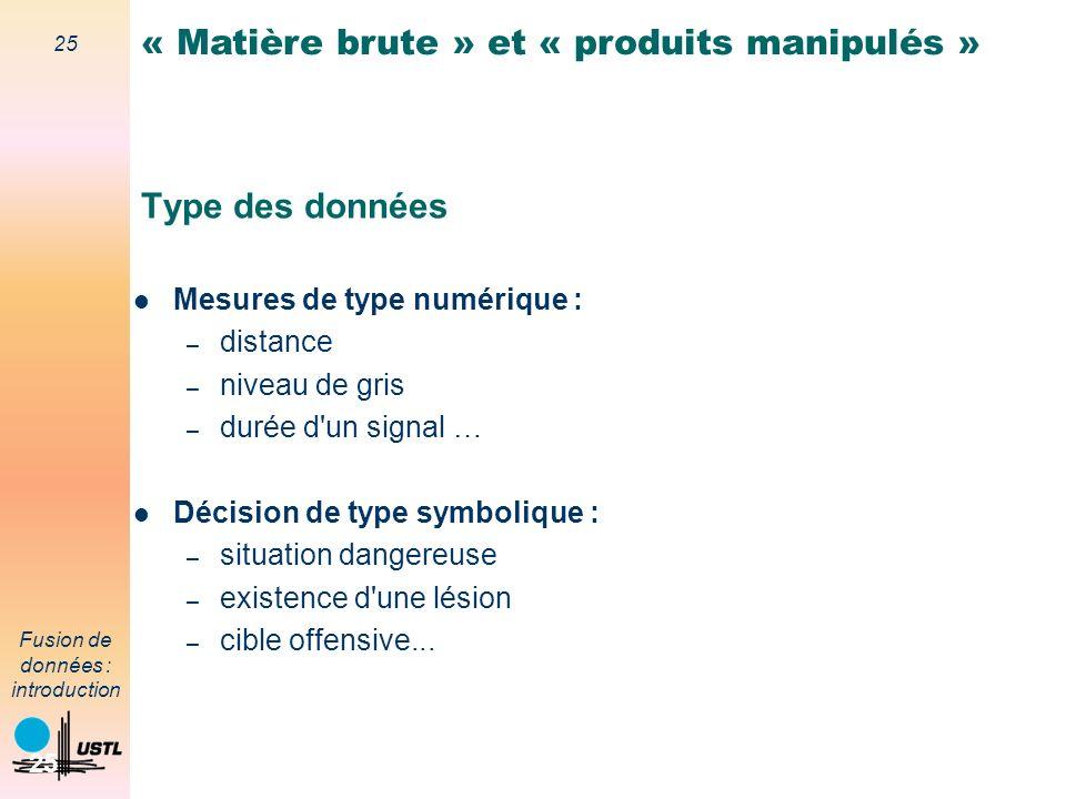 « Matière brute » et « produits manipulés »