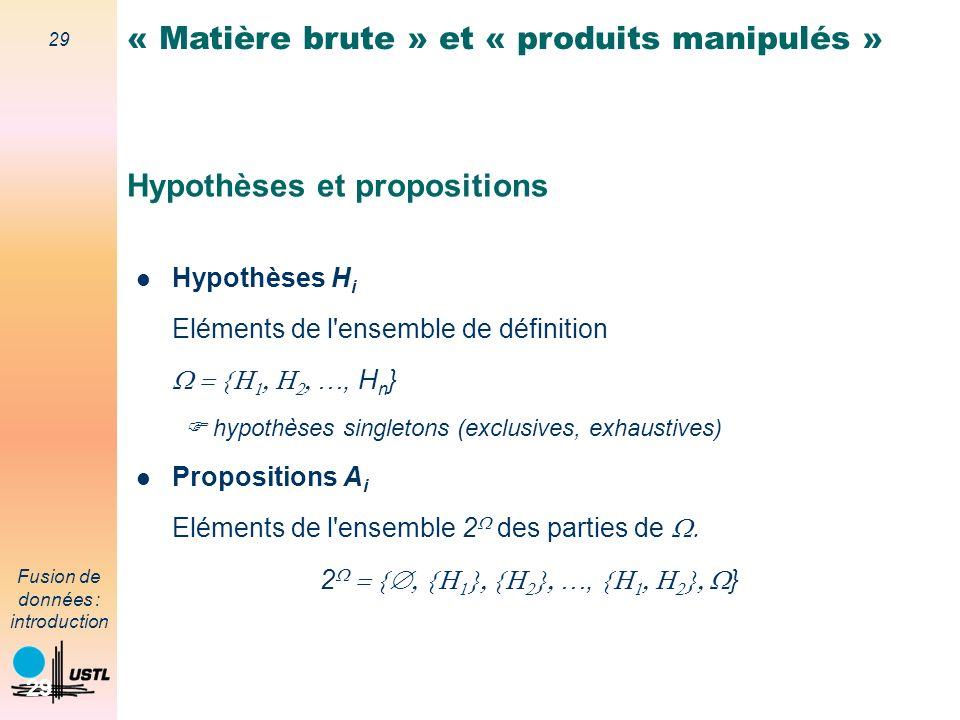 Hypothèses et propositions