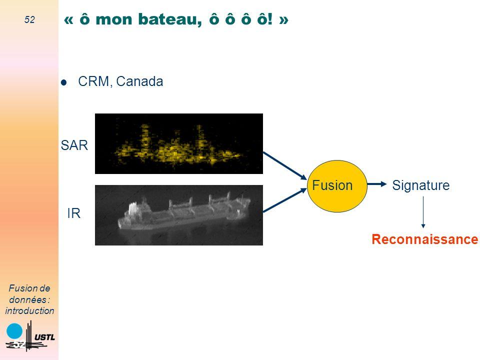 « ô mon bateau, ô ô ô ô! » CRM, Canada SAR Fusion Signature IR