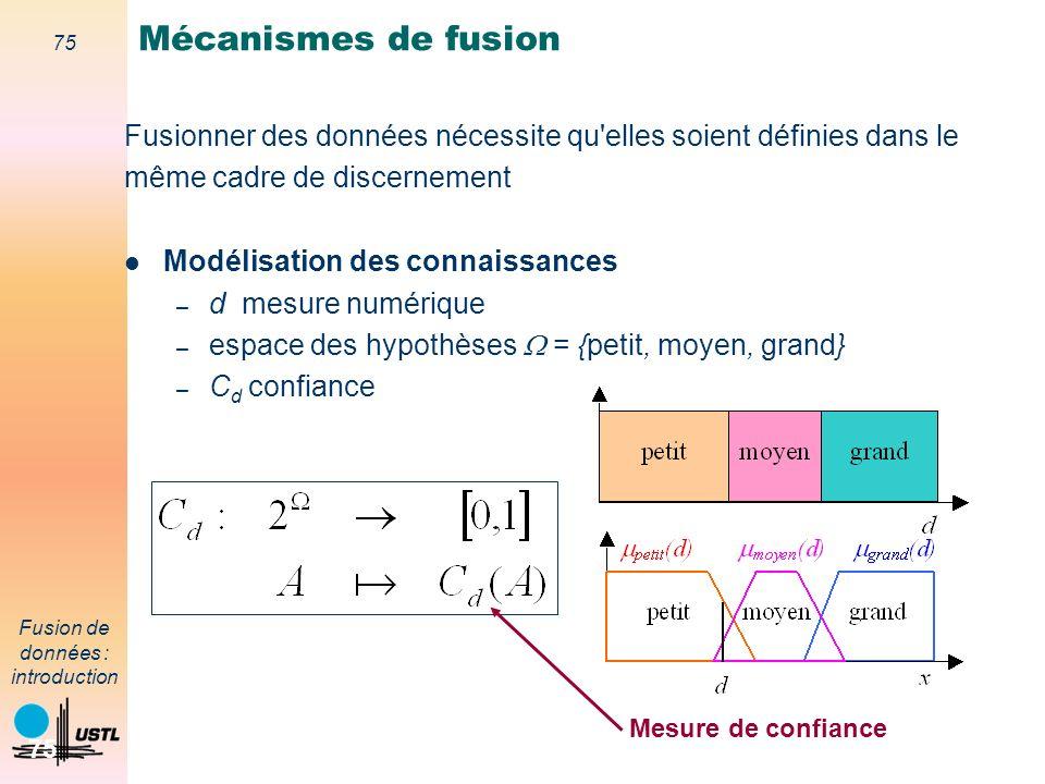 Mécanismes de fusion Fusionner des données nécessite qu elles soient définies dans le. même cadre de discernement.
