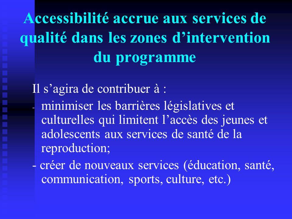 Accessibilité accrue aux services de qualité dans les zones d'intervention du programme
