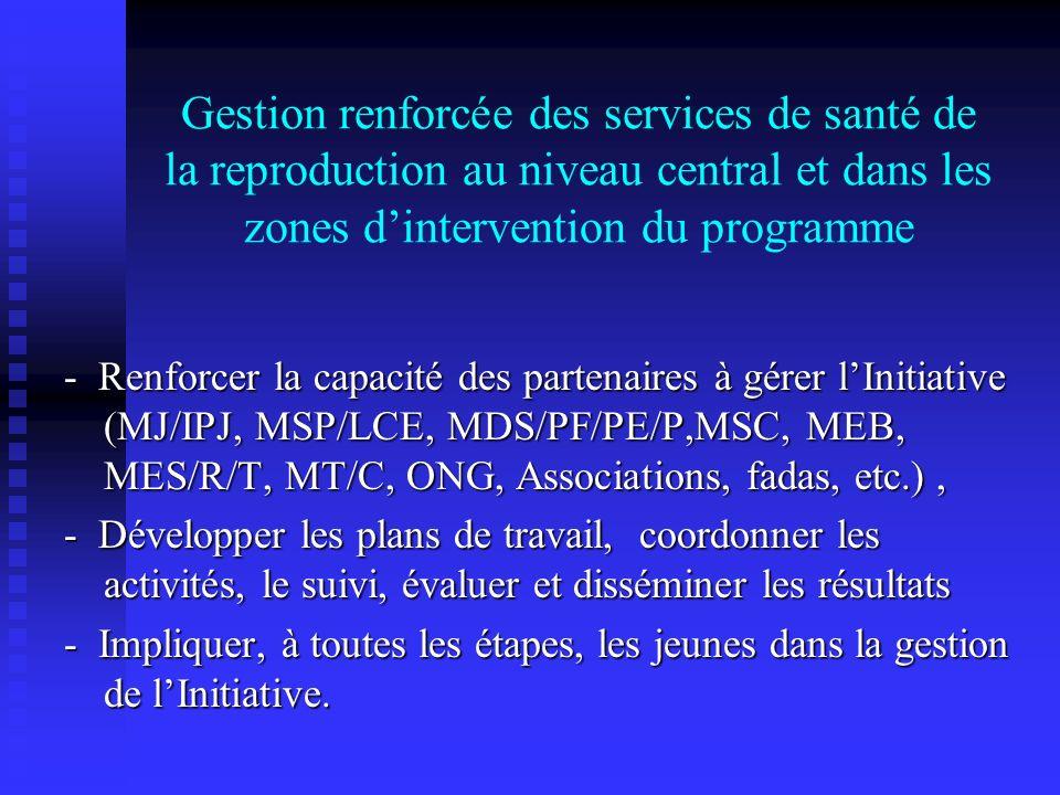 Gestion renforcée des services de santé de la reproduction au niveau central et dans les zones d'intervention du programme