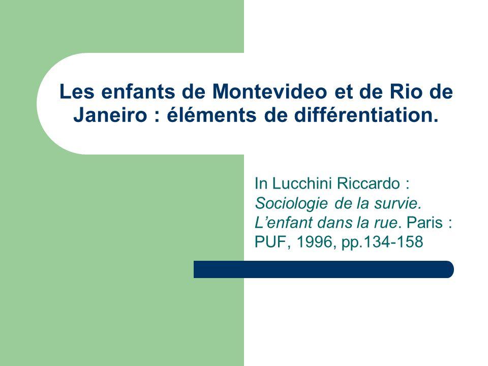 Les enfants de Montevideo et de Rio de Janeiro : éléments de différentiation.