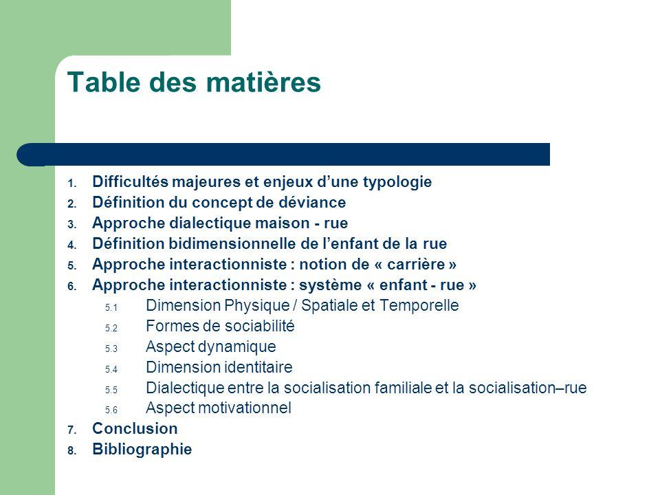 Table des matières Difficultés majeures et enjeux d'une typologie