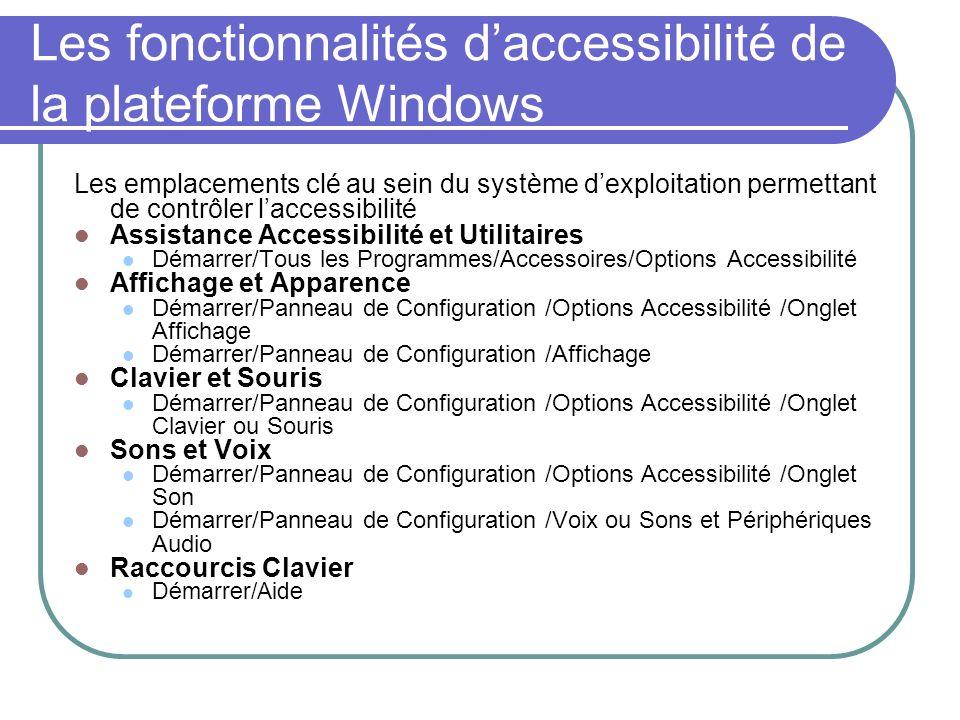 Les fonctionnalités d'accessibilité de la plateforme Windows