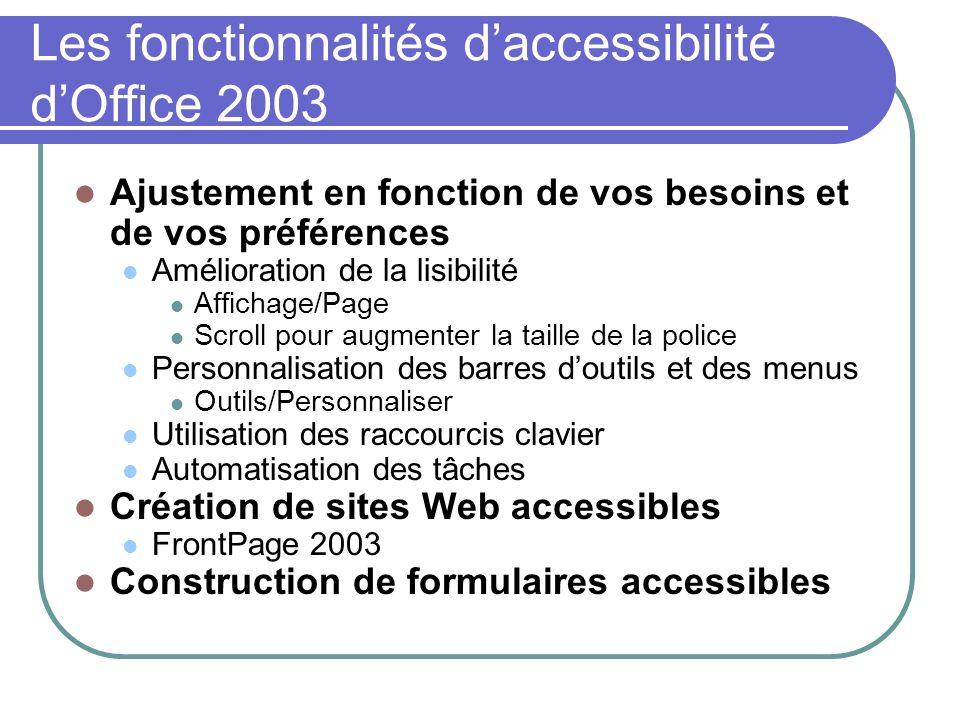 Les fonctionnalités d'accessibilité d'Office 2003