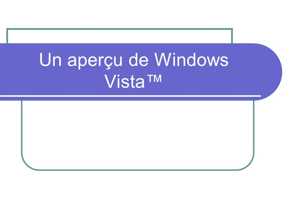 Un aperçu de Windows Vista™