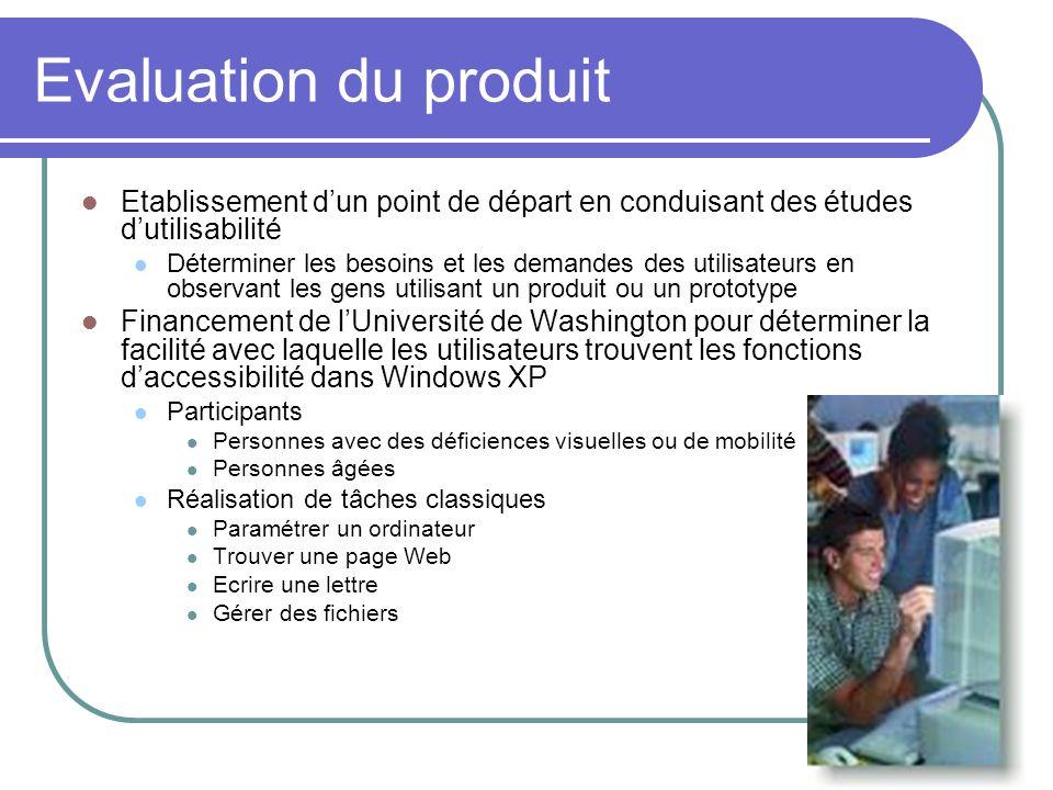 Evaluation du produitEtablissement d'un point de départ en conduisant des études d'utilisabilité.