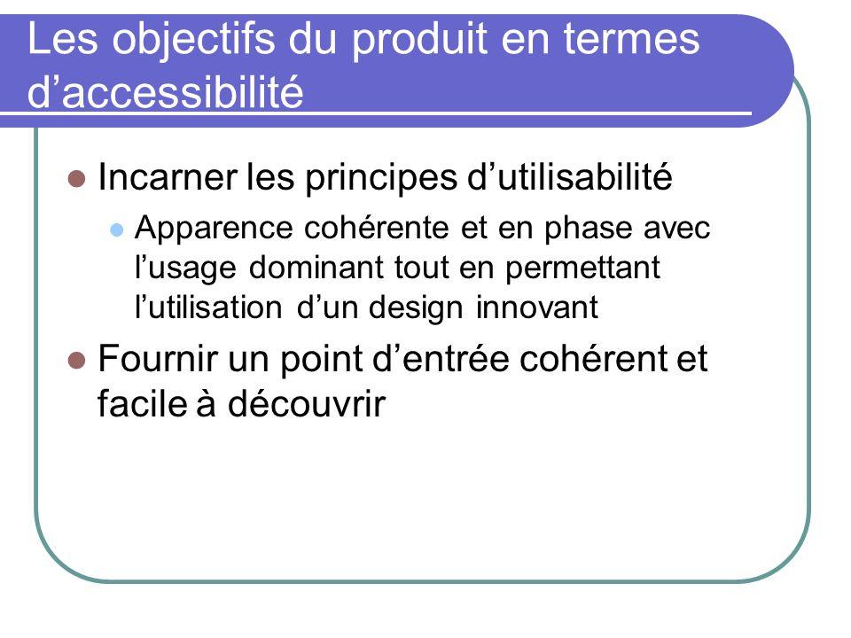 Les objectifs du produit en termes d'accessibilité