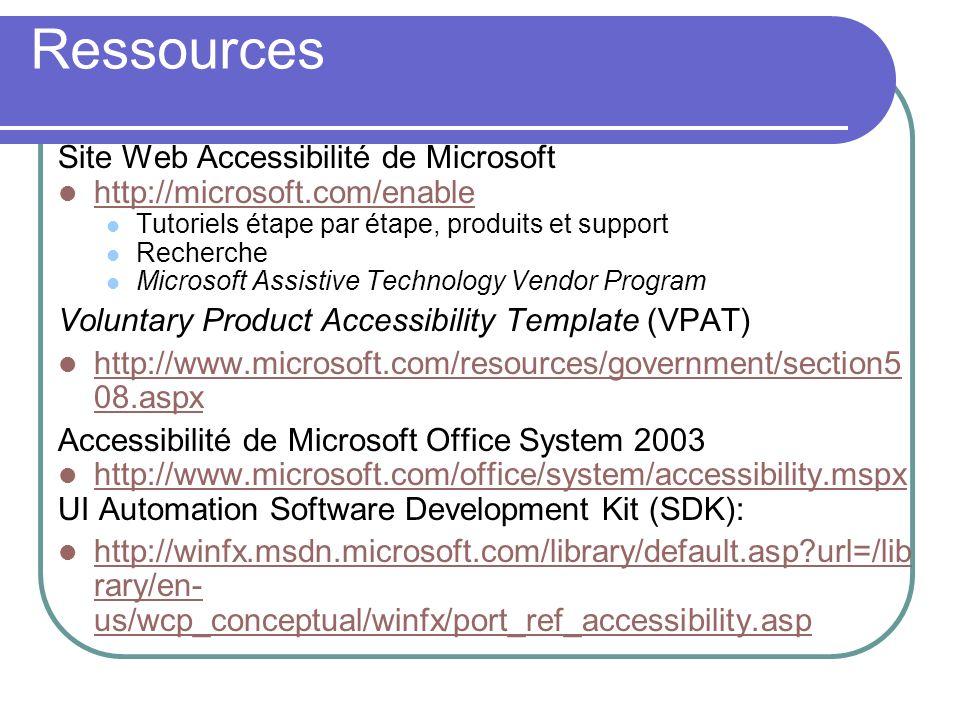 Ressources Site Web Accessibilité de Microsoft