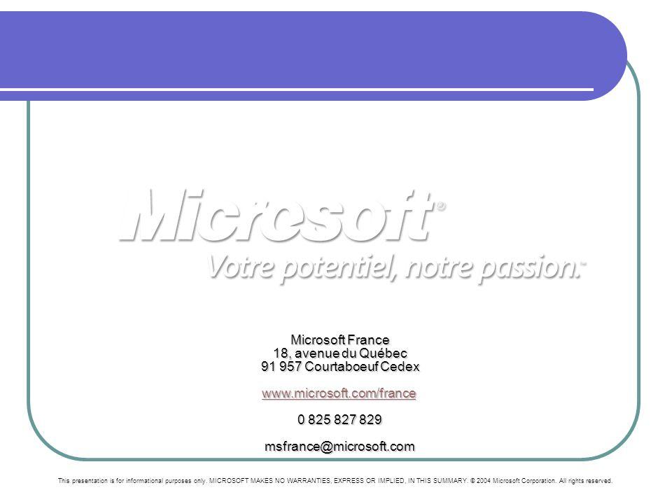 Microsoft France 18, avenue du Québec 91 957 Courtaboeuf Cedex